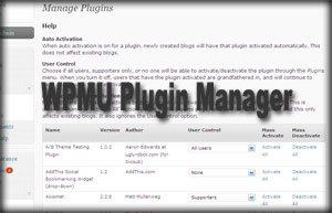 WPMU Plugin Manager
